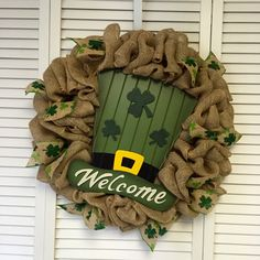 St. Patrick's Day Wreath, Burlap Wreath, St. Patty Wreath