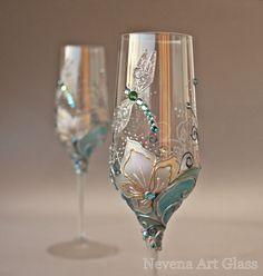 Wedding Glasses Champagne Flutes Wine Glasses by NevenaArtGlass