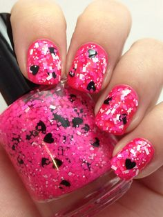 Pinking of You - Neon Pink Black Heart Glitter by Noodles Nail Polish.  Great for Valentines Day!