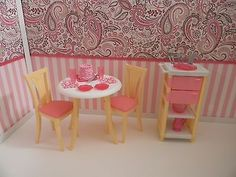 OOAK Barbie Table and Chair  I LOVE the background
