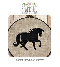 Black Horse Cross Stitch Pattern Instant Download
