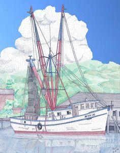 Shrimp Boat Drawings | Shrimp Boat Betty Jo Drawing - Shrimp Boat Betty Jo Fine Art Print