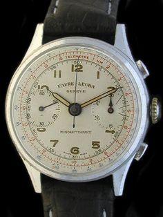Favre Leuba Mono-Rattrapante Chronograph Watch – 1940's – Farfo.com