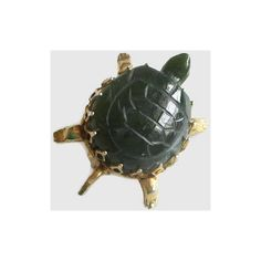 Turtle Pin, Vintage, Green Agate Gold Tone Filigree Metal, Terrapin,... ($12) ❤ liked on Polyvore featuring jewelry and brooches