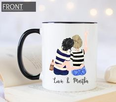 Custom friendship mug, pick your hair color etc, friendship knows no distance, personalized coffee m Monogram Coffee Mug, Personalized Coffee Mugs, Personalized Cups, Unique Coffee Mugs, Funny Coffee Mugs, Best Friend Mug, Friend Mugs, Best Friend Gifts, Graduation Gifts For Sister