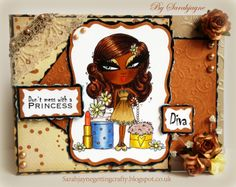 """Long card side opening design, Scruffy Little Cats """"Louise"""" Stamp, 6x6 Paper pack, Stamped sentiments, Die'sire Aurora, spectrum noir pens... Lips..CR5 & 8 Eyes...IB 1,2 & 3 Face...GB 8,9 & 10 Hair... FS9, EB3,6,7 & 8 Pearls... BG1 & 2 Nail Polish... BG1,2,3,4,5 & 6 Lipstick... CR5,8 CT1 & 4 GB 11 Flowers... LY1,2 & 3 TB2 own pearls, Flowers lace & ribbon light spray of Iridescent spray & sparkle, all 3 glues & tape. ColorCore cardstock. Centura pearl Pastels card"""