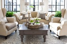 Living Room - Den. Pretty Gray White Rug with Neutral Furniture. Paradise Valley Home | REstyleSOURCE