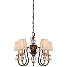 Metropolitan N6645-258B 5 Light 1 Tier Candle Style Crystal Chandelier from the Bella Cristallo Collection, French Bronze With Gold Leaf Highlights