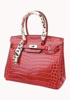 Classic Fashion Scarf Croco Leather 35CM Tote Bag Red 4d7aa09952312