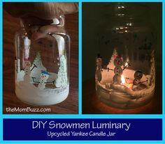 DIY Snowman Luminary - Reusing a Yankee Candle Jar #fingerprints