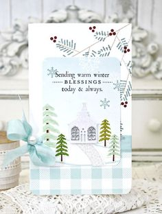 Winter Blessings Card by Melissa Phillips for Papertrey Ink (November 2015)
