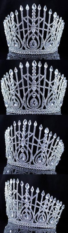 Hair and Head Jewelry 110620: Lg Beauty Queen Crystal Rhinestone Tiara Crown Hair Combs Pageant T2179 Silver BUY IT NOW ONLY: $47.99