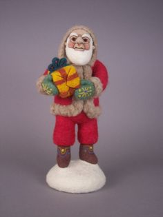Gift Giving Felted Santa OOAK by aronlowe on Etsy
