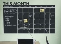 Month Calendar Planner / Chalkboard Sticker Wall Decal / Modern Chalk Blackboard / Monthly Planner / Chalkboard office organizer Echo Board by Chalkdepot on Etsy https://www.etsy.com/listing/202852043/month-calendar-planner-chalkboard