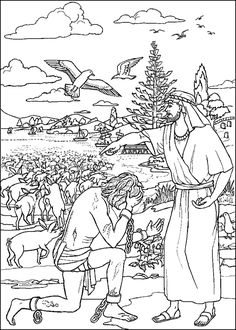Jesus Heals a Demon-Possessed Man - Coloring Page