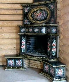 This fireplace is German/ Russian architecture & masonry work in an upper class household. Stove Fireplace, Fireplace Design, 1930s Fireplace, Mosaic Fireplace, Victorian Fireplace, Volga Germans, Vintage Stoves, Antique Stove, Russian Architecture