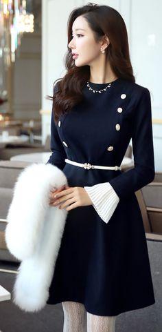 StyleOnme_Pleated Cuff Double-Breasted Flared Dress #navy #dress #elegant #unique #winterfashion #kstyle #seoul #feminine #girlish #dress #koreanfashion