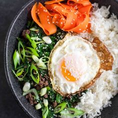 Sesame Kale & Beef Rice Bowls with Fried Eggs & Pickled Carrots - A Calculated Whisk Grilled Lemon Chicken, Chicken Asparagus, Lamb Recipes, Dinner Recipes, Dinner Ideas, Paleo Recipes, Free Recipes, Chicken Recipes, Healthy Eating Recipes