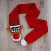 Crochet reindeer/rudolph reindeer scarf - via @Craftsy