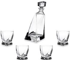 Decanter and Tumblers 5-Piece Set with Twist Design Glasses Bar Set Liquor #Unbranded