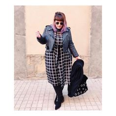 Love how @rebecagomezpolo has styled our Checked Shirt Dress - she looks amazing! #ELVI #Plussize #plus #curve #plussizefashion #transitional #SS17 #checked #psblogger #style #fashion