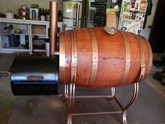 My wine barrel smoker project. Wanted something that wasn't an eyesore. Think this fits the bill.