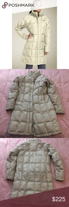 """[The North Face] White Ivory Parka Down Jacket! AWESOME jacket that I love so much, but am hoping to find a new owner for! No flaws- jacket will come freshly washed. Detachable hood is included (not shown in photos). The number """"600"""" appears in stitching on the outside wrist, as is common with The North Face products. Happy to answer any questions! North Face Jackets & Coats Puffers"""
