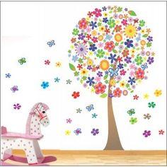 adesivo parede infantil arvore colorida com flores e borboletas