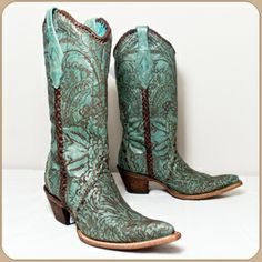 Corral Turquoise Boot With Brown Engraved Tooled Flower Design, Leather Braid Accenting The Side Of The Boot And Collar, Leather Outsole With Rubber Grip Insert - #CowgirlChic