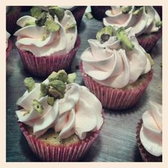 Pistachio Cardamom cupcake with rosewater cream filling and rosewater swiss meringue butter-cream, topped with crushed pistachios. A delightful flavor surprise! Photo by crystaldesignstudio Cupcake Tutorial, Swiss Meringue Buttercream, Pistachios, Rose Water, Frosting, Cupcakes, Crystals, Desserts, Food