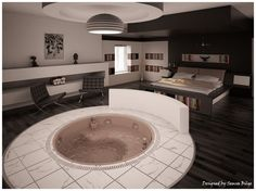 bedroom design with tub/Jacuzzi