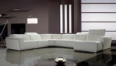 Contemporary Retractable Headrests White Leather Sectional Sofa