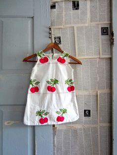 1950s LIttle Girls Embroidered Cherry Dress $26.00