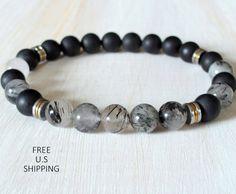Men's bracelet, Rutilated Quartz, Tribal bracelet, Men's onyx bracelet, Men's Mala, Protection, Quartz bracelet, Healing mala, mala beads