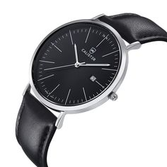 The Bauhaus Silver & Black Dial with Leather Strap brings new dimensions of elegance and comfort to Bauhaus design. The large 41mm diameter contrasts the slenderness of the polished stainless steel case. - BAU003 - #calister