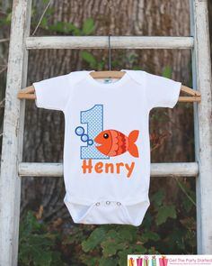 Fish Birthday Outfit Personalized Bodysuit by getthepartystarted