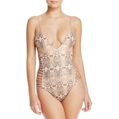 Sofia by Vix Skin Dive One Piece Swimsuit ($130) ❤ liked on Polyvore featuring swimwear, one-piece swimsuits, skin, strappy one piece bathing suit, bathing suit swimwear, swim suits, 1 piece swimsuit and side cut out swimsuit