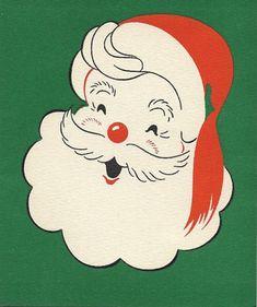 Vintage 1951 Skating Santa Claus Green Red Christmas by National Detroit printer