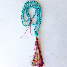 Handmade turquoise tassel necklace