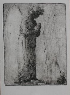 Paula Rubino, Praying Angel, 5.5 x 4 in, etching