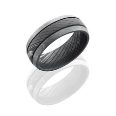 Damascus Steel 8mm Wide Domed Wedding Band with 2 .5mm Grooves