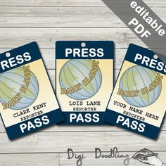 Daily Planet Press Pass. Lois Lane/ Clark Kent by DigiDoodling