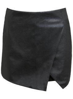 Faux black leather skort