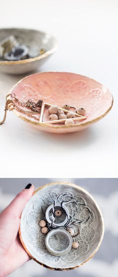 DIY: imprinted clay bowls