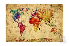 Vintage World Map Art Print by PHOTOCREO Michal Bednarek at Art.com
