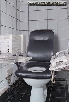 The office toilet complete with a printer and fax machine