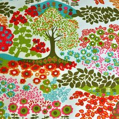 Ripstop - Trees & Flowers - cotton fabric