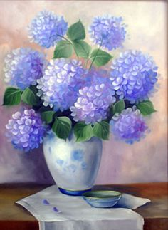 hortensias Hydrangea Flower, Flower Vases, Flower Art, One Stroke Painting, Painting & Drawing, Painting Abstract, Watercolor Cards, Watercolor Paintings, Floral Paintings