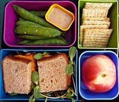Hummus sandwich, Englisg peas, Goddess salad dressing, Whole grain crackers, Nectarine