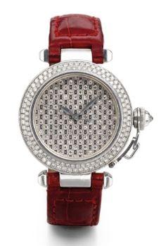 Lady's White Gold and Diamond-set Automatic Sweep Seconds Pasha de Cartier Wristwatch, Cartier
